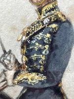 Military Watercolour Prince of Wales Own 10th Royal Hussars Guard on Horseback by Henry Martens c.1850 (16 of 53)