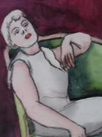 Pair of Watercolours Girl in the Chair Listed French Artist Janine Marca 1960s (7 of 10)