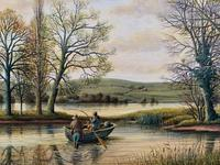 Fishing The River Ouse - Lovely Vintage North Yorkshire Riverscape Oil Painting (8 of 12)
