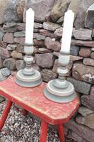 Pair of Swedish 'Folk Art' Large Over-sized Wooden Painted Candlesticks 20th Century (9 of 17)