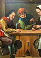 Early 19th Century Dutch School Drinking in a Tavern Oil on Panel Portrait Painting (7 of 11)