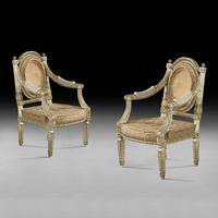 Extremely Fine & Decorative Set of Four 19th Century Italian Painted And Parcel Gilt Armchairs of Neo-Classical Design (4 of 7)