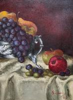 Fabulous 1960 Vintage Antique Still Life Of Fruit Study Oil On Canvas Painting (5 of 12)