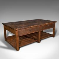 Large Antique Craftsman's Table, Pine, Kitchen Island, Retail, Bench, Victorian