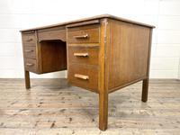 Early 20th Century Antique Oak Pedestal Desk (4 of 9)