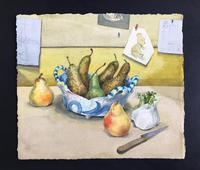 Original Watercolour 'Still-life of Pears, Fennel and Teddy Bear by Colleen Farr (2 of 6)