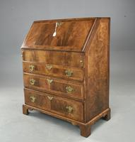 Antique Rare Small Georgian Walnut Bureau (3 of 10)