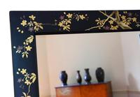 Pair of Black Lacquer Japanese Decorated Wall Mirrors c.1910 (12 of 14)