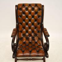 Regency Style Leather Armchair & Stool (5 of 14)