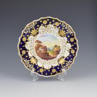 Ridgway Porcelain Loop Sprigged Landscape Dessert Plate 941 2