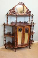 Antique Victorian Burr Walnut Display Whatnot Side Cabinet (2 of 13)