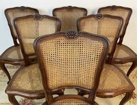 Vintage French Louis Style Set Of 6 Cherry Wood Bergère Cane Dining Chairs (7 of 10)