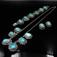 Art Deco Blue Porcelain Scarab Beetle Silver Full Set Suite - Necklace Earrings Bracelet (3 of 10)