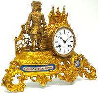 Antique 8 Day Ormolu Mantel Clock Sevres Cavalier Explorer French Mantle Clock (4 of 6)