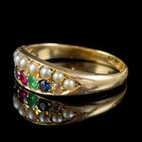 Antique Victorian Dearest Gemstone Ring 18ct Gold Dated 1889 (4 of 7)
