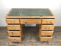 Late 20th Century Pine Pedestal Kneehole Desk (8 of 14)