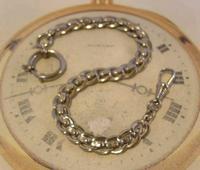 Antique Pocket Watch Chain 1910 Art Nouveau Silver Chrome Graduated Albert Nos (3 of 11)