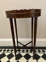 Small Antique  Wine or Candle Table With Galleried Top & Pull Out Shelf (9 of 13)
