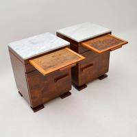 Pair of Art Deco Satin Birch Marble Top Bedside / Side Cabinets (6 of 11)