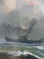 Oil on Board Battle on the Ocean Wave Listed Artist Dion Pears (8 of 12)