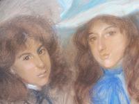 Large Pastel Portrait Two Girls Monogrammed TC 1910 (2 of 10)