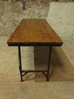 Industrial Vintage Folding Trestle Dining Table with Metal Legs & Reclaimed Top (15 of 17)