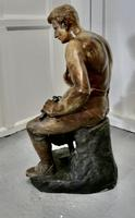 Large 1920s Plaster Figure of the Seated Blacksmith, Le Travail (3 of 12)