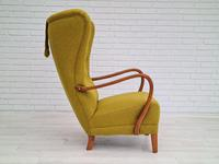Danish Design, 1960s, Restored-reupholstered High-backed Armchair, Furniture Wool (4 of 13)