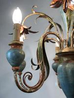 Large Vintage French 6 Arm Polychrome Toleware Ceiling Light Chandelier (12 of 16)