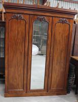Victorian Mahogany 3 Door Wardrobe with Good Interior and Drawer at Base