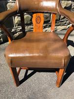 Antique Walnut & Leather Desk Chair (7 of 8)
