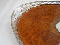 Victorian Oval Silver & Inset Walnut Gallery Tray (4 of 11)