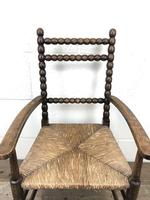Antique Child's Bobbin Chair with Rush Seat (8 of 10)