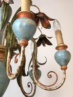 Large Vintage French 6 Arm Polychrome Toleware Ceiling Light Chandelier (5 of 16)