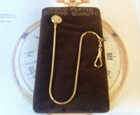 Vintage Pocket Watch Chain 1970s 12ct Gold Plated with Ornate Button Fob Nos (4 of 10)