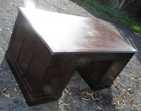 1960s Mahogany Pedestal Desk Brown Leather (4 of 5)