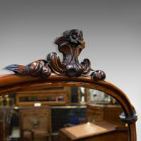 Antique Overmantel Mirror, English, Walnut, Glass, Hall, Victorian, Circa 1860 (6 of 9)
