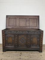 Early 20th Century Carved Oak Coffer or Blanket Box (2 of 12)