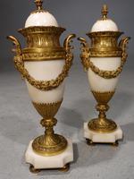 Good Original Pair of White Marble & Ormolu Cassoulet Vases
