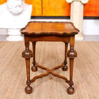 Walnut Side Table Continental Queen Anne Carved Lamp Table (5 of 12)
