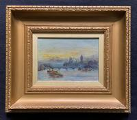 Superb Original 1921 View of Westminster, London Seascape Oil Painting
