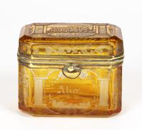 Bohemian Antique Engraved Metal Mounted Overlay Yellow Glass Sugar Casket 19th Century (11 of 19)