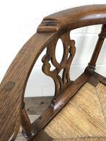 Antique 19th Century Oak Corner Chair with Rush Seat (9 of 10)