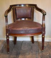 French Mahogany, Brass & Leather, Low Back Armchair (2 of 9)