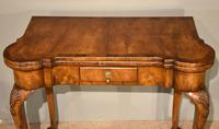 Walnut Card Table Fine Tapestry Interior (4 of 10)