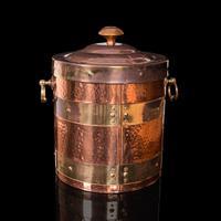 Antique Fireside Bin, English, Copper, Brass, Decorative, Scuttle, Edwardian (7 of 12)