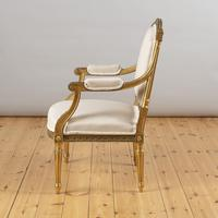 Pair of Large 19th Century Louis XV1 Style French Gilt Armchairs (8 of 10)