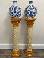 Dutch Golden Age Style Gilt Harvest Relief Plinth Display Torcheres (3 of 87)