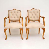 Pair of Antique Walnut Salon Armchairs (12 of 12)