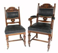 Set of 8 Farmhouse Dining Chairs English Oak Rustic (2 of 9)